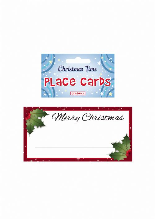50 Christmas Place Cards Red with Holly for Xmas Dinner Table Decorations